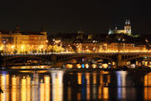The night View on the Prague gothic Cathedral Vysehrad, Czech Republic — Stock Photo