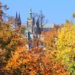 Autumn Prague gothic Castle above River Vltava, Czech Republic — Foto de stock #35691173