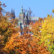 Stock Photo: Autumn Prague gothic Castle above River Vltava, Czech Republic