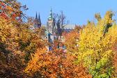 Autumn Prague gothic Castle above River Vltava, Czech Republic — Stock Photo