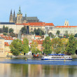 Autumn Prague gothic Castle above River Vltava, Czech Republic — Zdjęcie stockowe #35893969