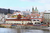 Romantic Snowy Prague St. Nicholas' Cathedral, Czech Republic — Stock Photo