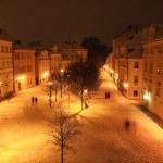 Night romantic snowy Prague Island Kampa above River Vltava, Czech republic — Stock Photo #38062821