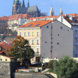 Autumn Prague gothic Castle above River Vltava, Czech Republic — Zdjęcie stockowe #38527813