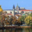 Autumn Prague gothic Castle above River Vltava, Czech Republic — Foto de stock #38528217
