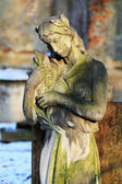 Stone Girl on Tomb from old Prague Cemetery, Czech Republic — Stock Photo