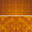 Damask seamless brown and gold pattern for design background, royal design element. Vector pattern Illustration — Imagen vectorial