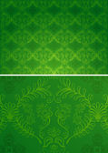 Damask seamless green and gold pattern for design background, royal design element. Vector pattern Illustration — Stock Vector