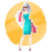 Beautiful blonde girl with shopping bags and gifts. Happy and smiling woman. Shopaholic — Stock Vector
