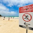 Surfcraft prohibited warning sign at the beach — Stok fotoğraf