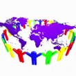 People Holding Hands Around the world map 3d — Stock Video #43282127