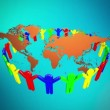 People Holding Hands Around the world map 3d — Stock Video #43282149