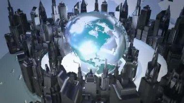 Broadcast world loop animation — Stock Video