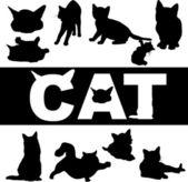 Cat silhouette — Cтоковый вектор