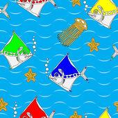 Küçük balıklar ile seamless modeli — Stok Vektör