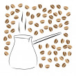 The Turk for coffee preparation — Stock Vector
