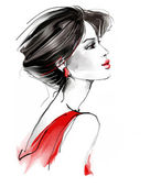 Fashion woman in red — Stock Photo