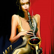Girl playing sax — Stock Photo