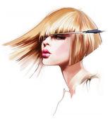 Haircut blond hair — Stock fotografie