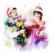 Young happy christmas couple — Stock fotografie