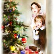 Children and christmas tree — Stok fotoğraf