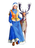 Snow Maiden with Christmas deer — Stock Photo