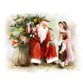 Children and santa Claus near the new year tree — Stock fotografie