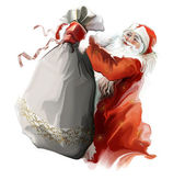 Santa with bag — Stock Photo