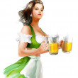 Woman Holding Beer — Stock Photo #32533503
