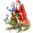 Young beautiful Snow Maiden with Santa Claus — Stock Photo
