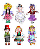Dolls in folk attire — Stock Photo