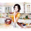 Beautiful woman cooking in the kitchen — Stock Photo
