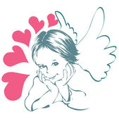 Small angel with hearts — Stock Vector