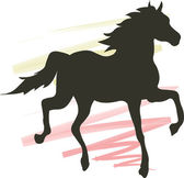 Silhouette of a horse — Vector de stock