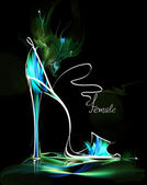 Green high heel woman shoe — Stock Photo
