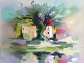 Watercolor tree near the river — Stockfoto
