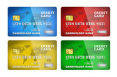 Four plastic credit cards — Stock Photo