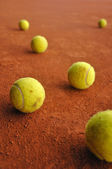 Balls on court — Stock Photo