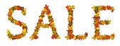 Word Sale arrange with autumn leaves — Stock Photo