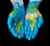 Map painted on hands — Stock Photo