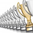Row of trophies — Stock Photo