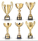 Collection Of Golden Trophies — Stock Photo
