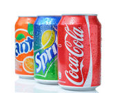 Coca-Cola, Fanta and Sprite — Stock Photo
