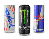 Shark, Red Bull and Monster energy drink — Stock Photo