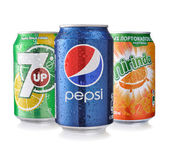 Pepsi, Mirinda and 7UP Cans — Stock Photo