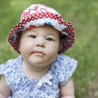 Little One Years Old Baby Girl  Face with Funny Hat — Stock Photo