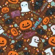 Happy Halloween seamless pattern. Cute vector background. — Stok Vektör