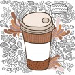 Cute cartoon doodle coffee cup — Stock Vector