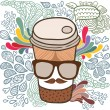 Cute cartoon doodle coffee cup. — Stock Vector