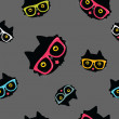 Seamless pattern with cat in hipster glasses — Stock Vector
